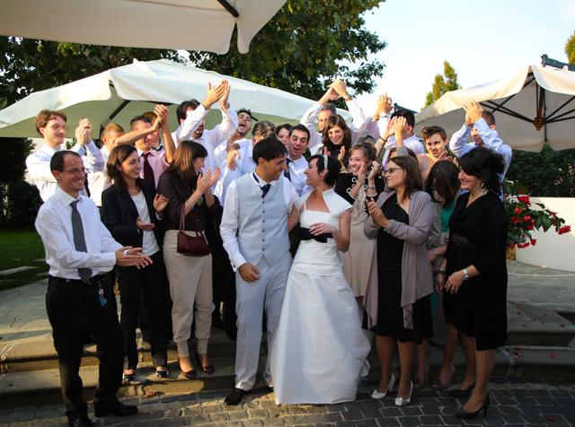 foto con invitati foto matrimonio Trattoria Rosetta di Capergnanica.