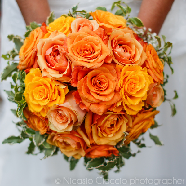 bouquet sposa rose arancio