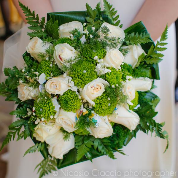 bouquet sposa bianco e verde