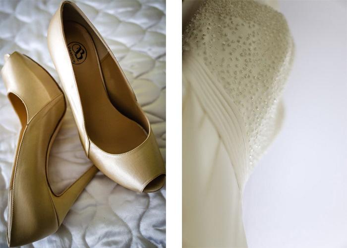 Particolari sposa, dettagli vestito e scarpe