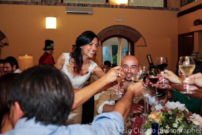 brindisi durante il ricevimento presso matrimonio Golf Club San Vito a Gaggiano