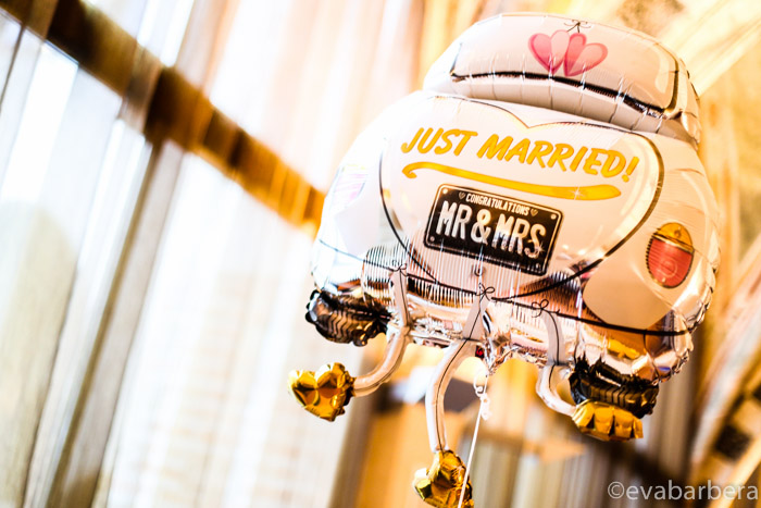 palloncino matrimonio just married