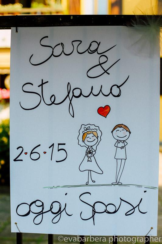 Dettaglio Matrimonio cartellone sposi con data e disegni