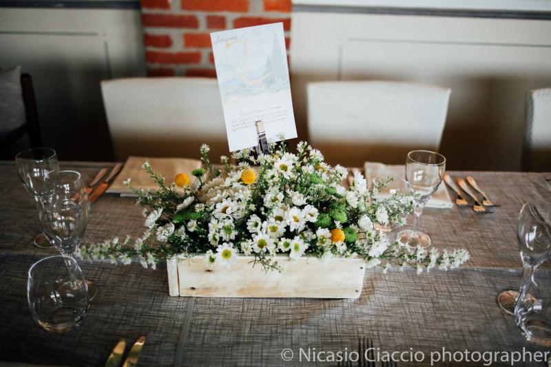 Dettaglio centro tavola-Matrimonio Molino Santa Marta-2