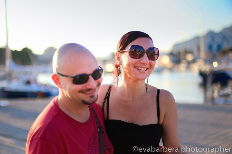 scatti presso la cala di Palermo, ritratto di coppia al porto turistico di palermo