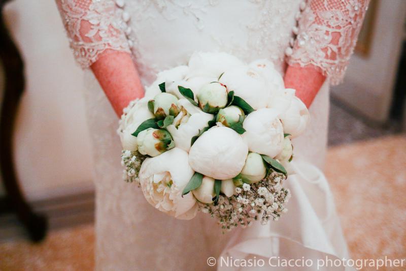 Bouquet Sposa peonie bianche