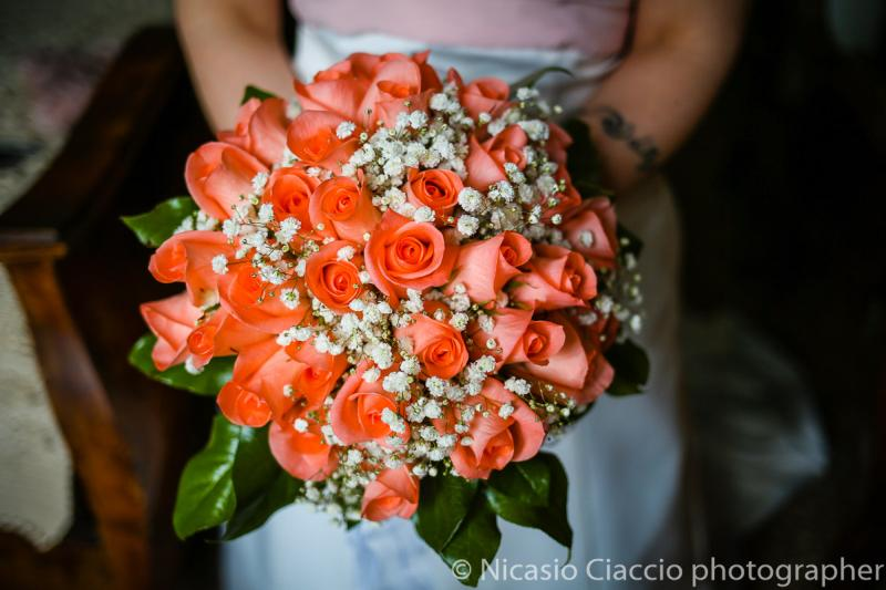 Bouquet Sposa rose color salmone