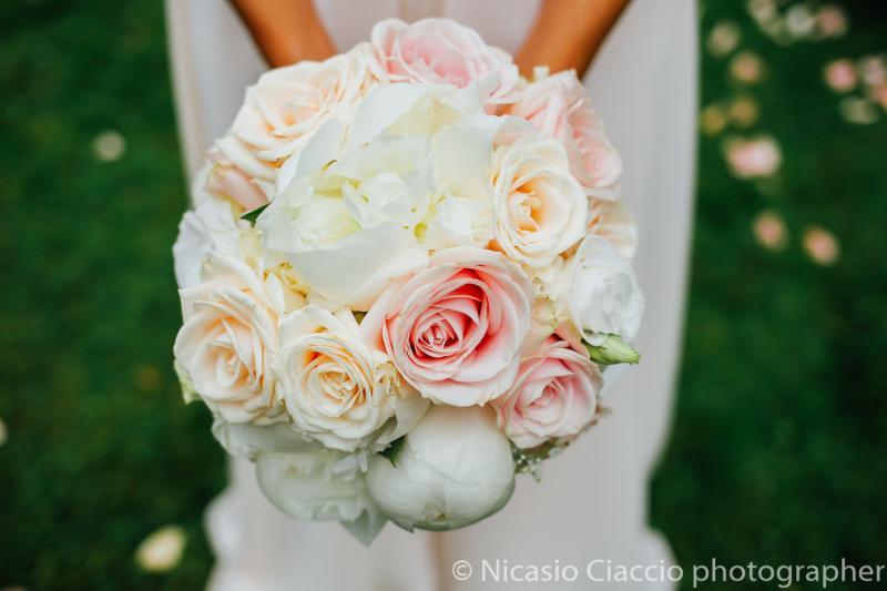 Bouquet rose rosa e peonie bianche - Bouquet da Sposa
