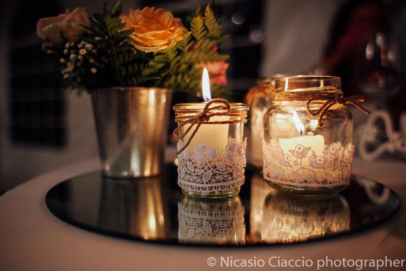 Dettaglio decorazioni dei tavoli per le nozze