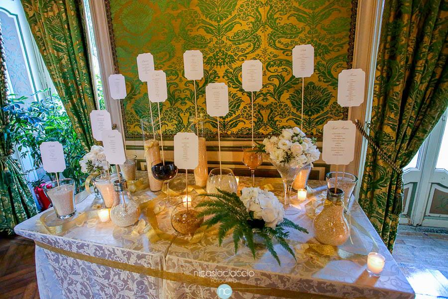 Matrimonio a villa Orsini Colonna, dettaglio table de mariage
