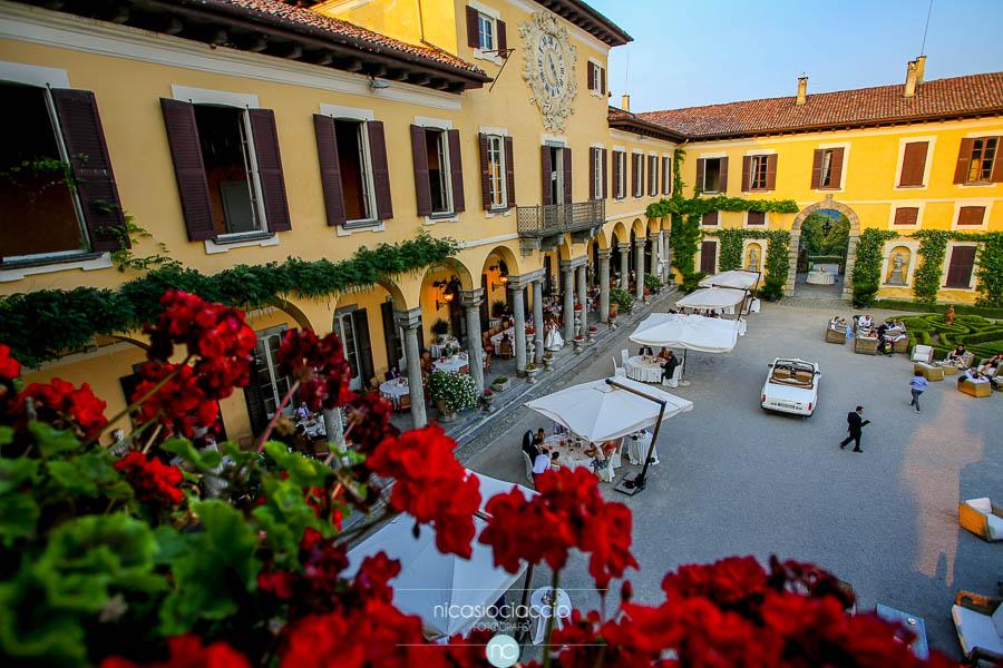 Matrimonio a villa Orsini Colonna, vista del giardino interno dall'alto