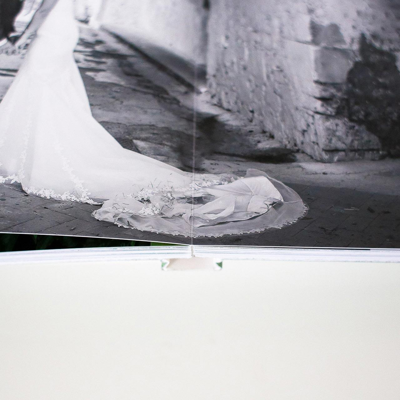 fotolibro, dettaglio piega e rilegatura
